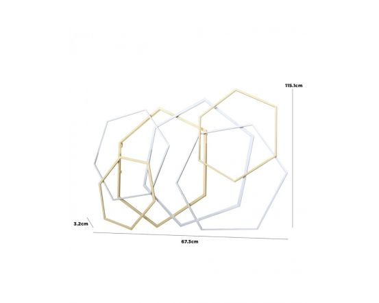 115cm Tall Hexagon Gold and Silver Metal Wall Art