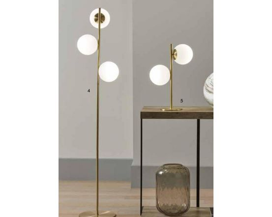 2 White Orb Metal Gold Table Lamp