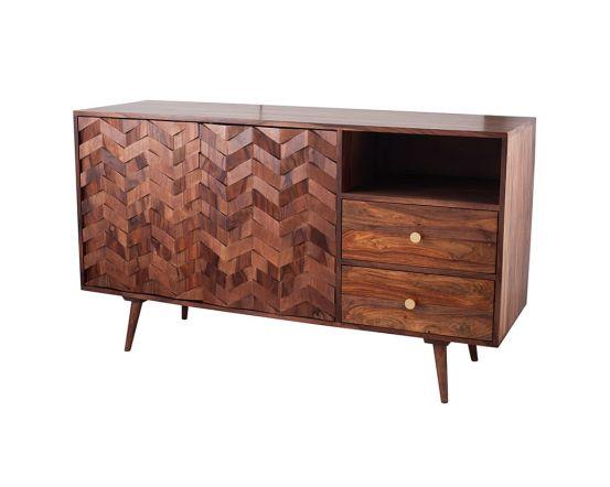 3D Honeycomb Design Sheesham Wood Sideboard
