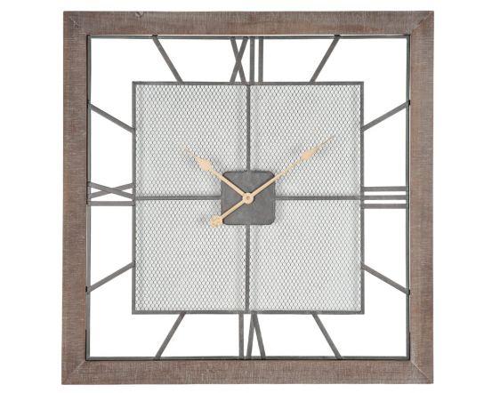Abby Natural Wood & Metal Square Wall Clock