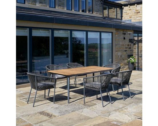 Acacia Wood Reims Dining Set in Grey