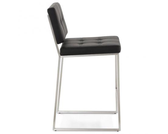 Adelheid Black and Chrome Leather Effect Bar Chair