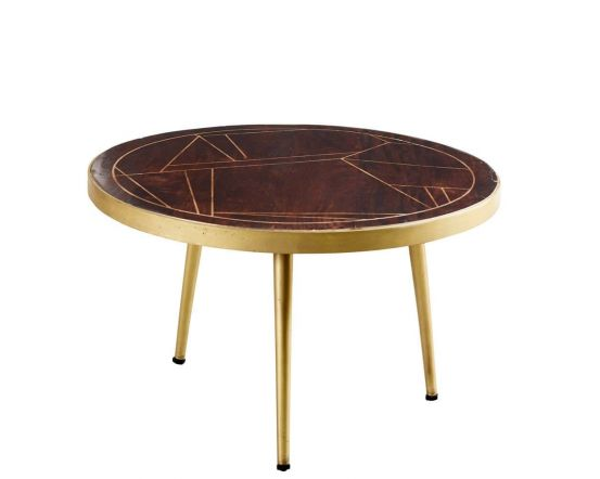 Ajay Dark Gold Round Coffee Table With Gold Inlay