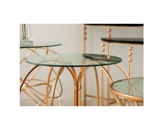 Alexa Convex Side Table in Rose Gold