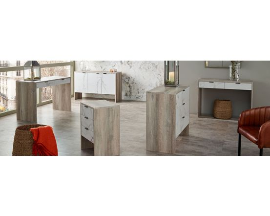 Alivia Grey and Marble Effect 3 Door Sideboard