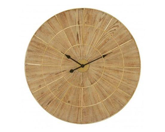 Andrea Natural Wood Gold Wall Clock