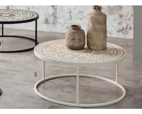 Antique Aged White and Cream Wooden Coffee Table