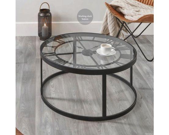 Antique Black Metal Clock Design Coffee Table