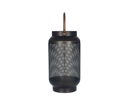 Antique Black Metal & Glass Round Candle Holder Lantern