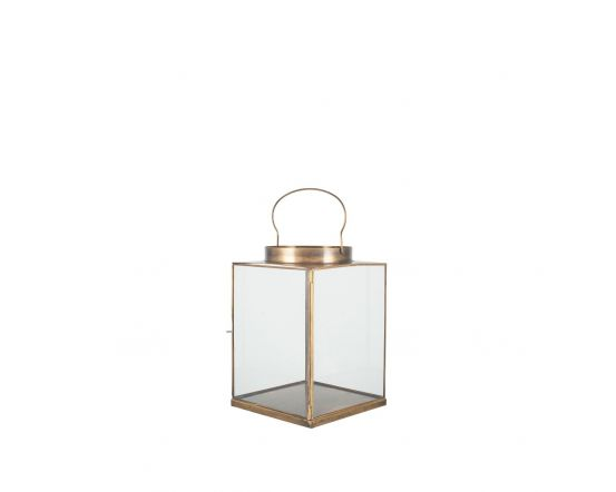 Antique Brass Metal and Glass Candle Holder Lantern