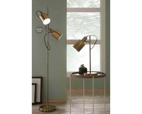 Antique Brass Metal 2 Light Task Floor Lamp