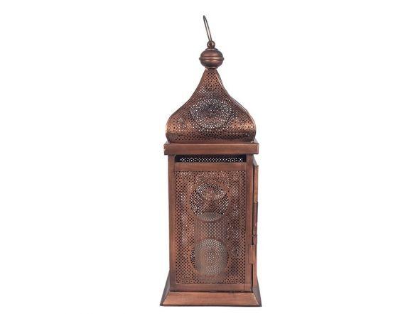 Antique Copper Iron Square Candle Holder Lantern