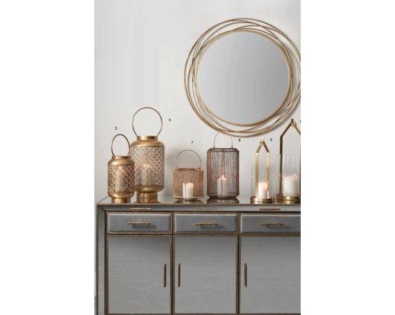 Antique Gold Metal & Glass Round Candle Holder Lantern