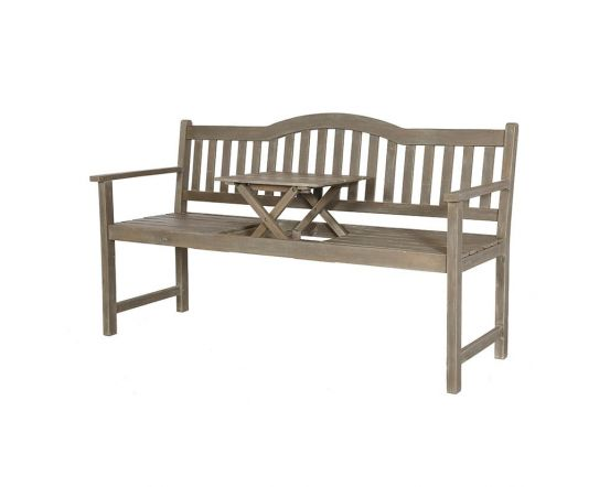 Antique Grey Wash Acacia Wood Bench with Pop Up Table