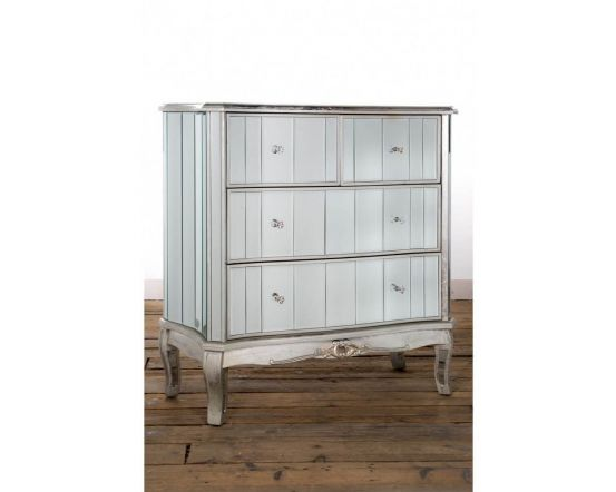 Antonia Shabby Champagne Silver Mirrored Chest of Drawers