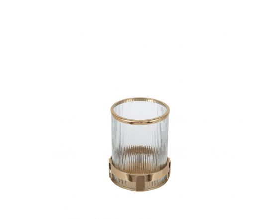 Art Deco Gold Metal and Clear Textured Glass Candle Holder