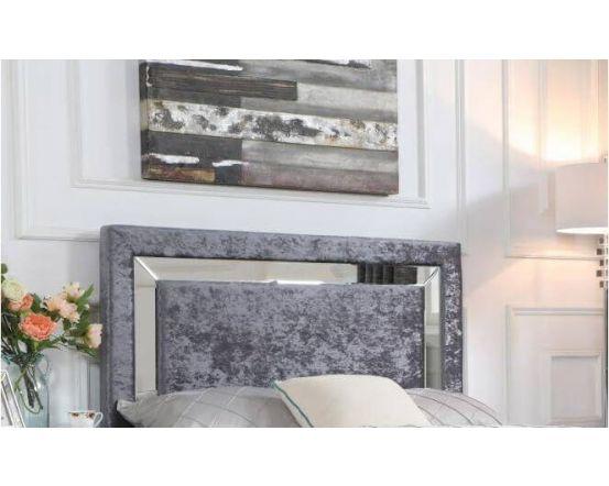 Augusta Crushed Velvet Bed Frame - Mirror Headboard