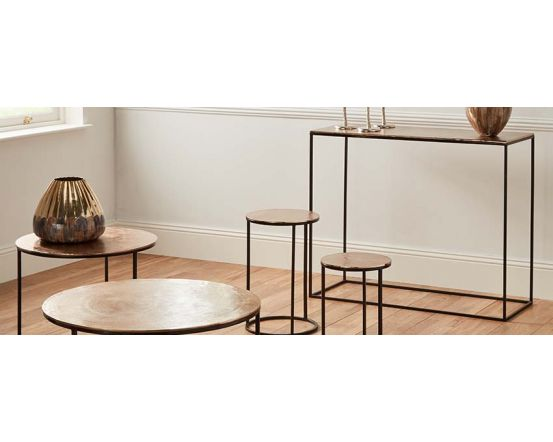 Gold Finished Aluminium Console Table with Iron