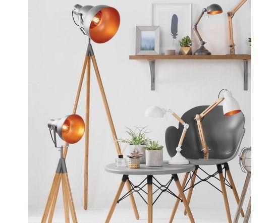 Breeze Rustic Wood Task Table Lamp