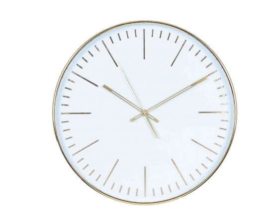 Bethany Gold & White Round Wall Clock