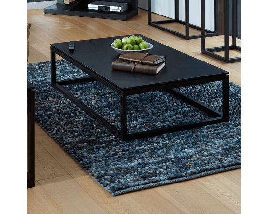 Black Stained Retro Rectangular Coffee Table
