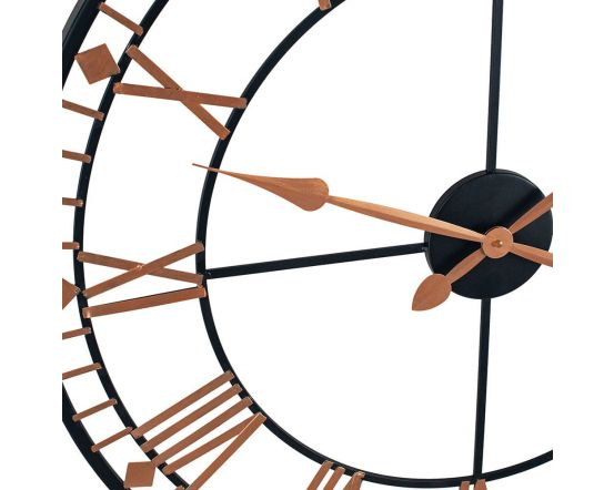 Black and Rose Gold Metal Round Wall Clock