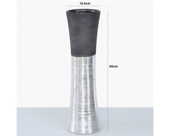 Black and Silver Textured Fluted Vase