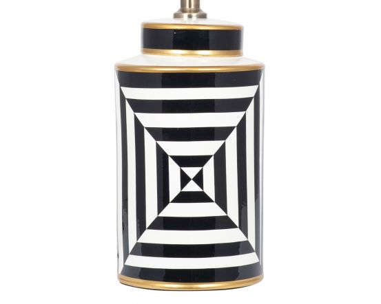 Black and White Optic Design Monochrome Table Lamp - Base Only