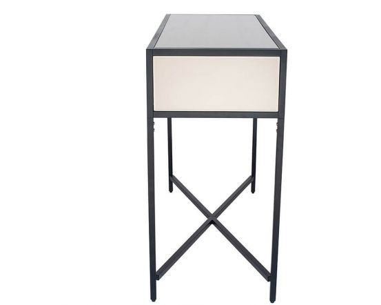 Black Metal and Bronze Glass Console Table