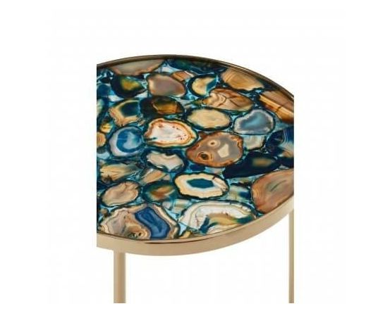 Blue Agate and Gold Round Side Table