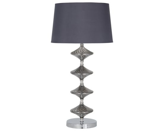 Boutique Metal Base & Grey Glass Table Lamp - Faux Silk Shade