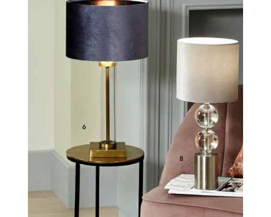 Brushed Silver and Clear Glass 2 Orb Table Lamp