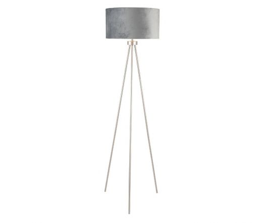 Brushed Silver Tripod Floor Lamp With Grey Velvet Shade