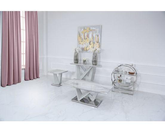 Caitlyn Marble Effect & Chrome Console Table