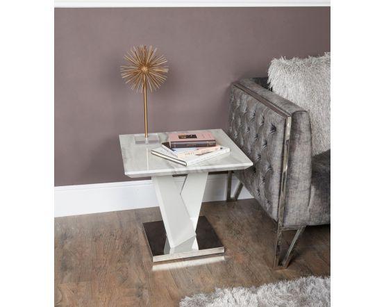 Caitlyn Marble Effect & Chrome End Table