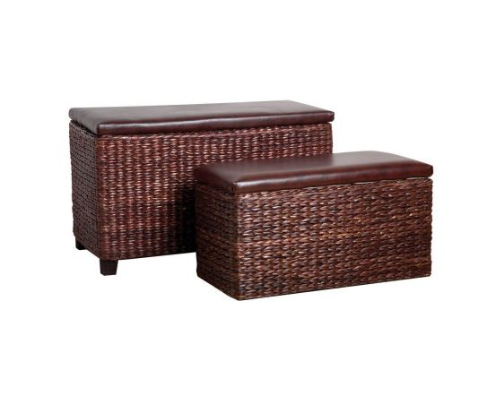 Cattail Leaf and Leather Effect Set Of 2 Storage Seats
