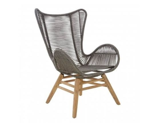 Cecil Grey Rope Lounger Chair and Stool