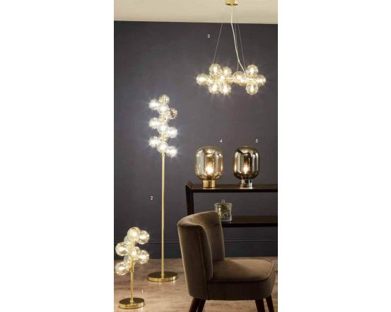 Champagne Metal Lustre Glass 8 Ball Table Lamp