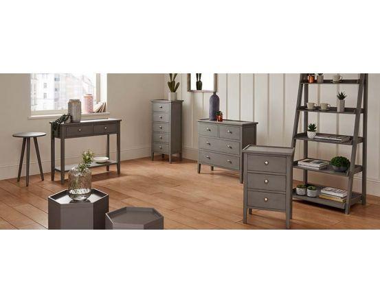 Chiara Grey Pine 2 Drawer Console Table