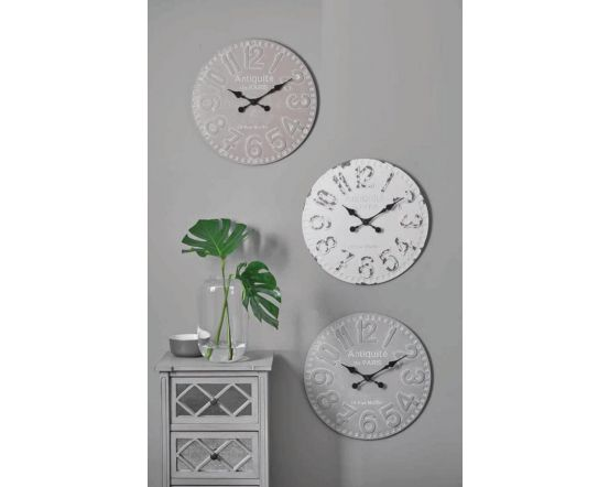 Clarence Dove Grey Wood Round Wall Clock