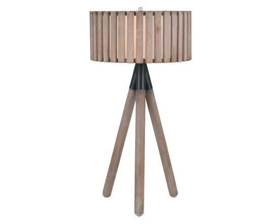 Clark Distressed Slatted Wood Tripod Table Lamp