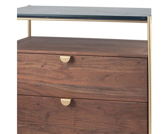 Claude Acacia Wood and Black Marble 2 Drawer Display Sideboard