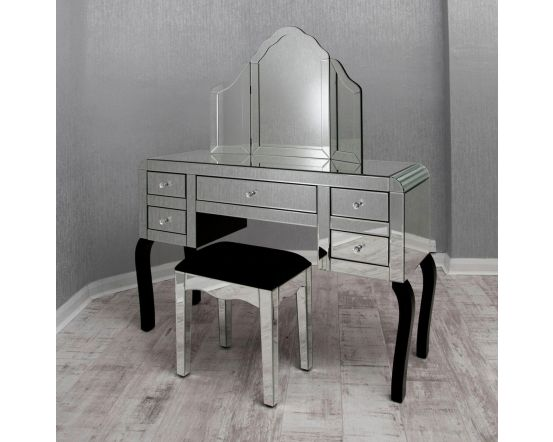 Clear Mirrored Dressing Table Set
