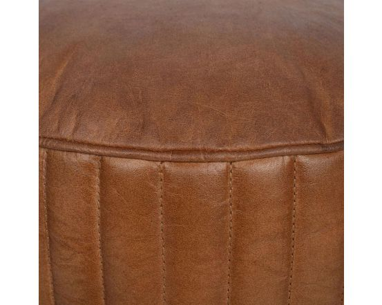 Masey Natural Brown Leather Round Pouffe