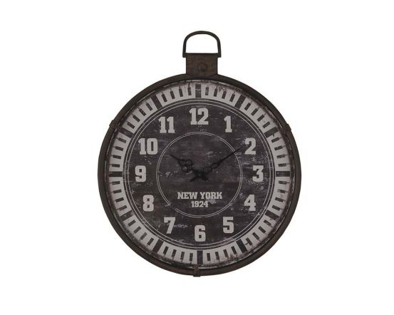Cog Design Round Wall Clock Finished In Nickel