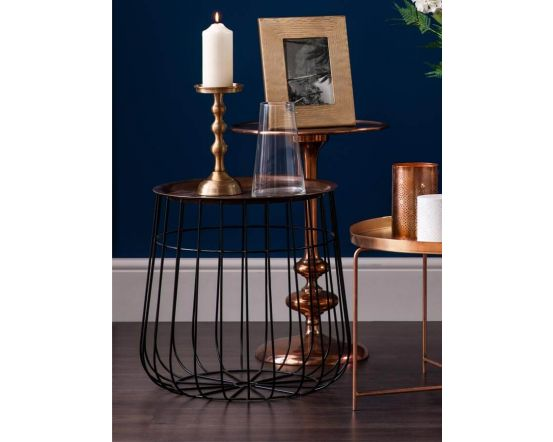 Copper and Metal Wire Side Table
