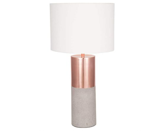 Copper Table Lamp With Half Concrete Base