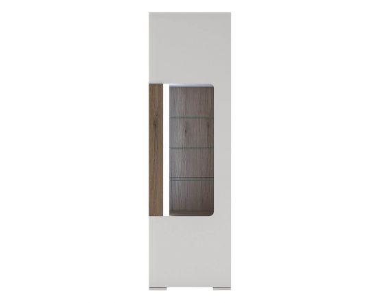 Designer Style White Narrow Glazed Cabinet