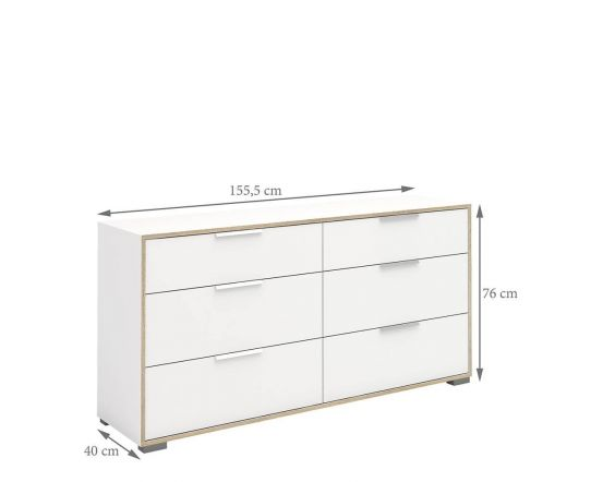 Design Line White and Oak Wide Chest of 6 Drawers