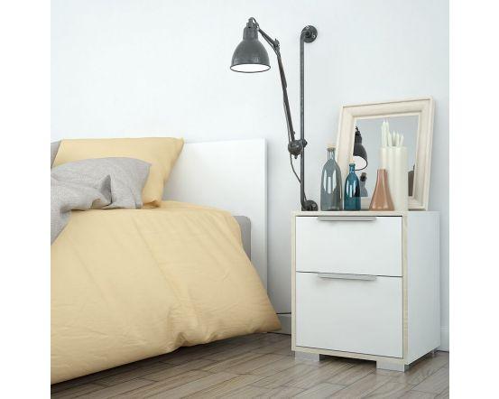 Design Line White and Oak Bedside Cabinet